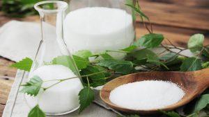 Xylit (Birkenzucker) wird aus Birkenrinde hergestellt.