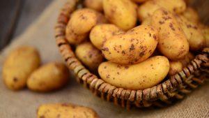 Rohe Kartoffeln in Korb