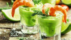 shrimps und avocadocreme
