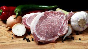 Frisches Iberico Fleisch mit Marmorierung.