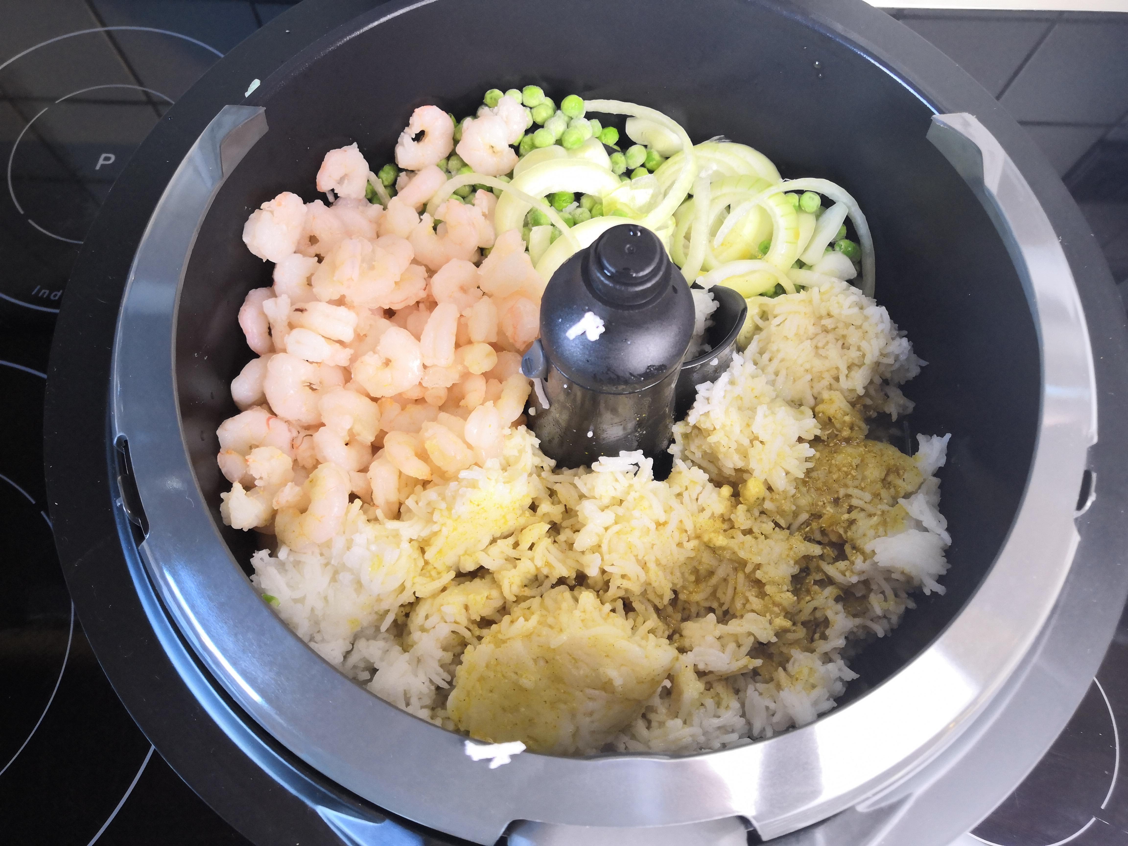 9 Frittierter Reis mit Shrimps vor dem Garen - Active Fry Rezepte