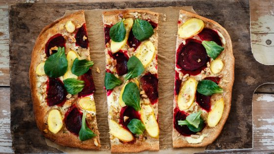 Flammkuchen with beetroot, carrot and lamb's lettuce