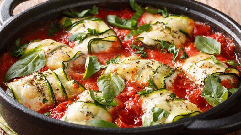 Zucchiniröllchen mit Ricotta