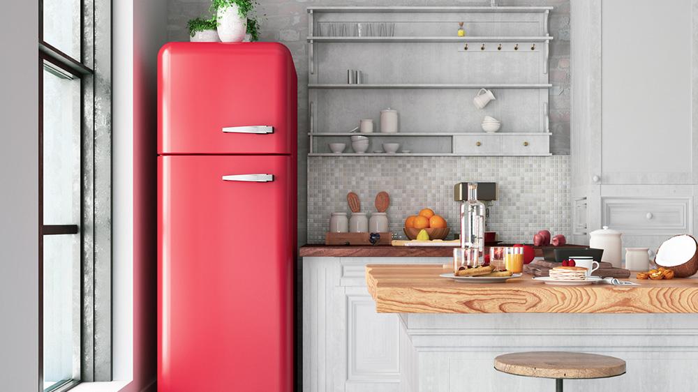 Roter Kühlschrank als Highlight in der Küche